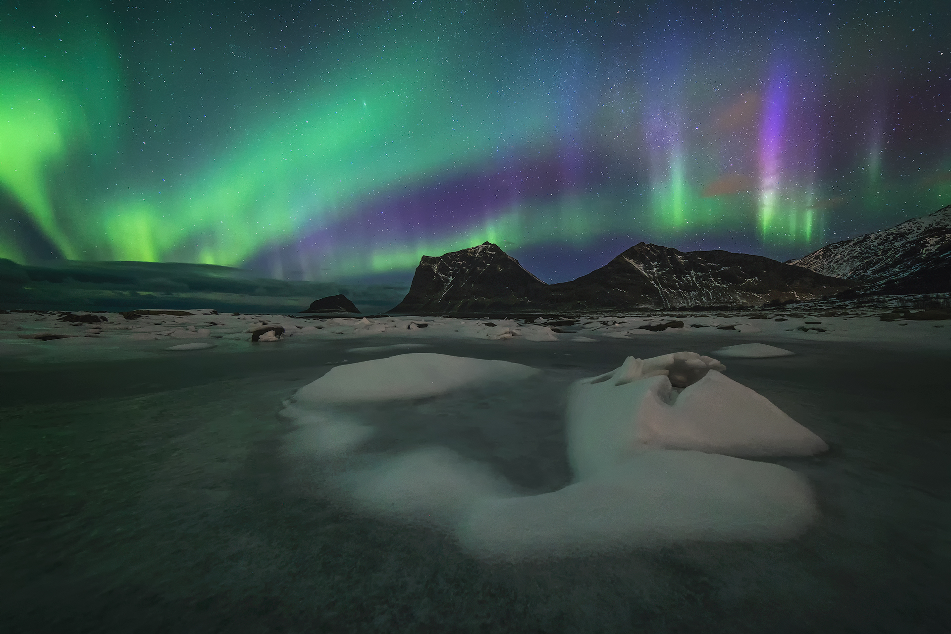 Photographing northern lights -