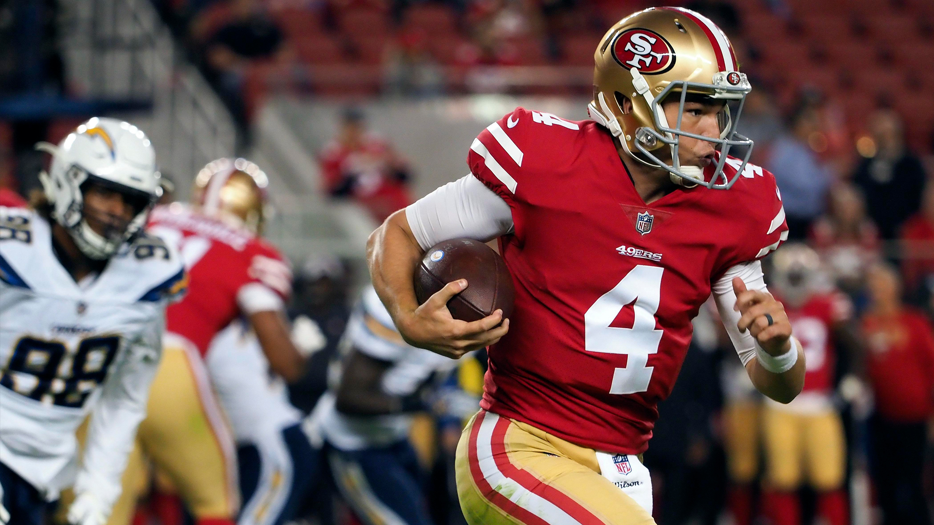 Nick Mullens looks to lead the 49ers to victory against the Giants this weekend.