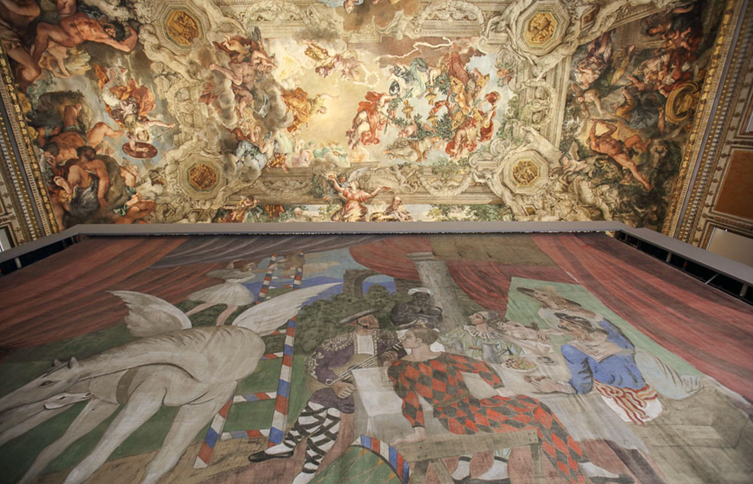 The curtain of  Parade  by Picasso (1917) under the frescoed ceiling by Pietro da Cortona. Installation view, Palazzo Barberini, September 2017.Photo by Alberto Novelli