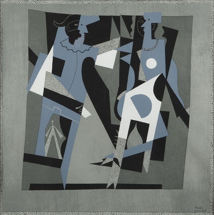 Pablo Picasso,  Arlequin et femme au collier , 1917.Oil on canvas, 200 x 200 cm,Centre Pompidou, MNAM-CCI, Paris,Legs Baronne Eva Gourgaud, 1965,AM 3760 P