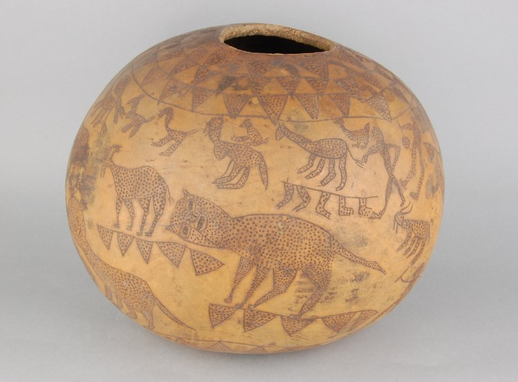 Source: Gourd vessel, subspherical, decorated with incised human and animal figures, Tesoland, eastern Uganda, ca. 1939 (British Museum Af1939,25.10)
