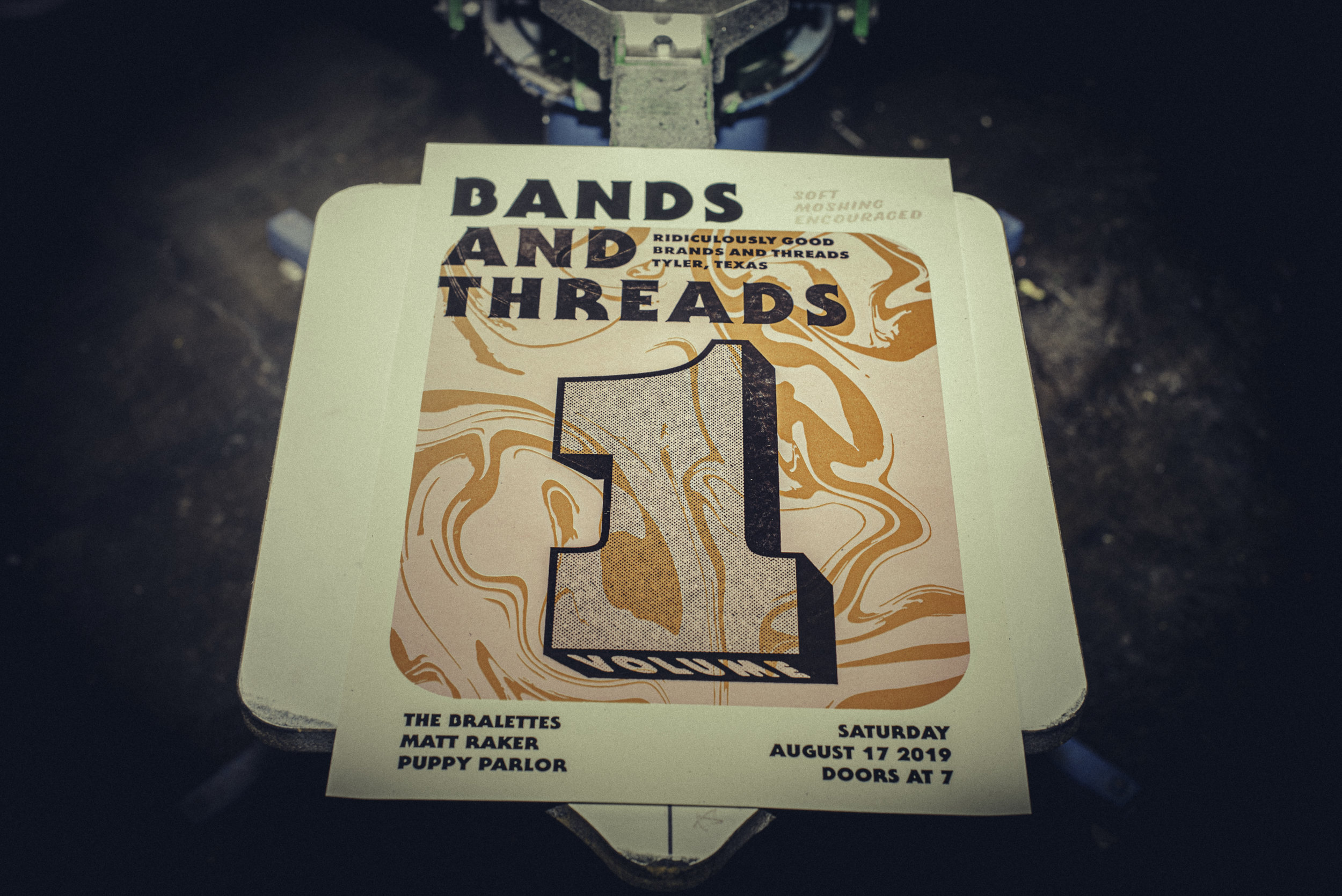 """shots from the 1st ever """"bands and threads"""" hosted by matt raker and brands and threads (posters printed by brands and threads)"""