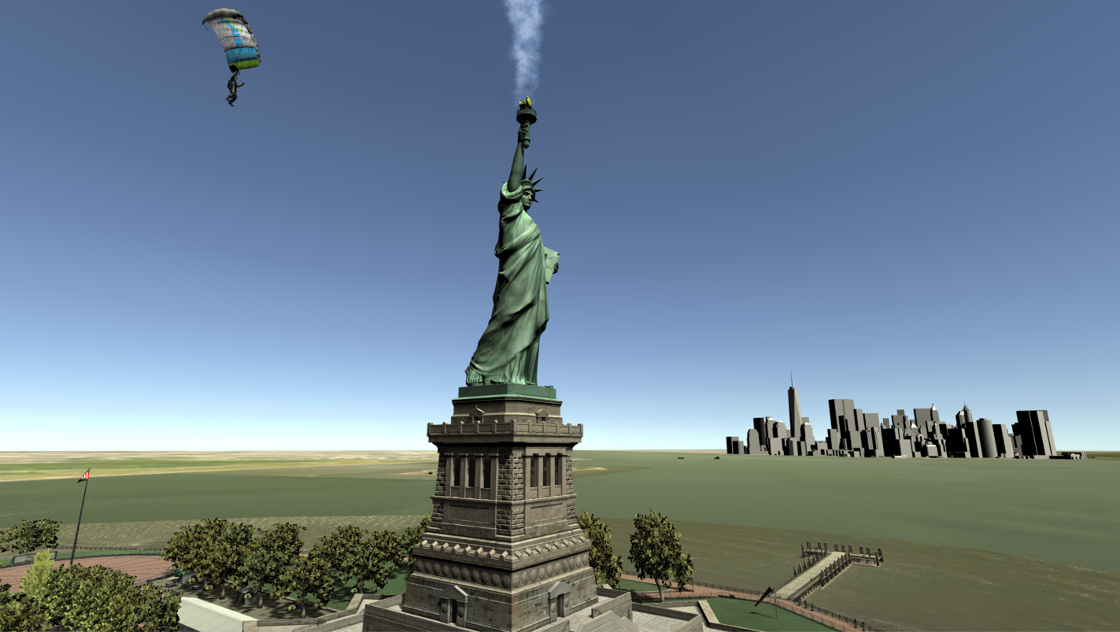 A robot skydiver passing by the Statue of Liberty