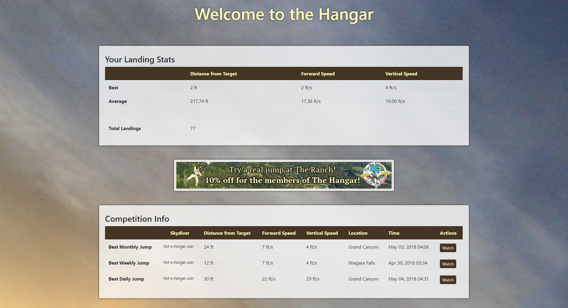 The Hangar homepage