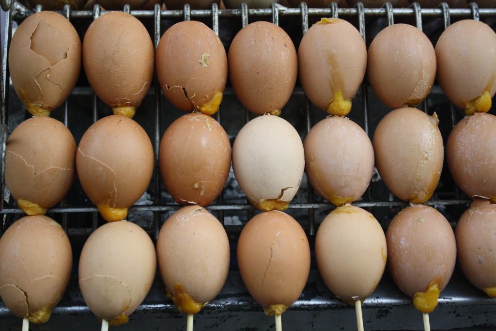 Grilled egg kebabs