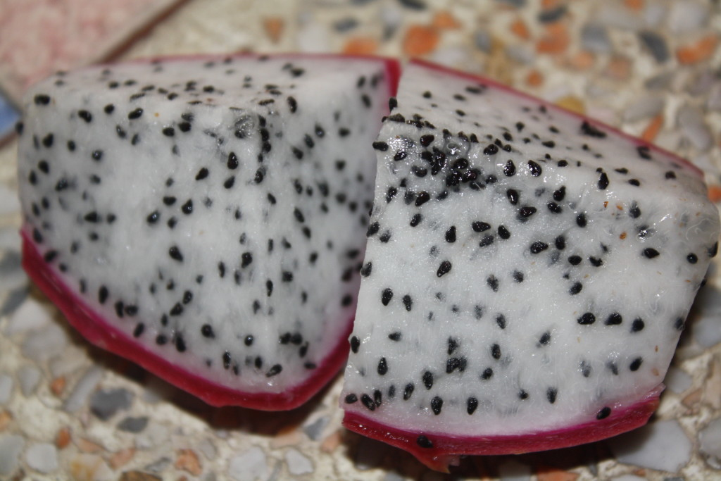 Dragon fruit: sliced and ready to eat