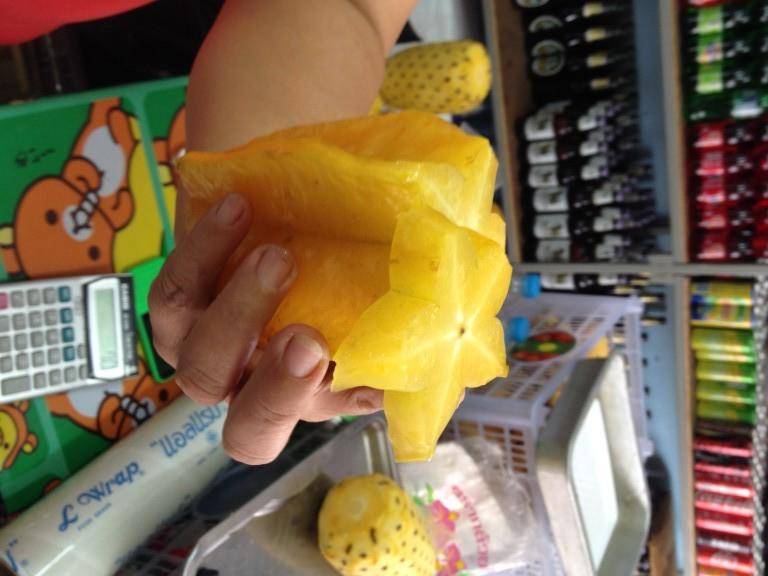 freshly-sliced star fruit
