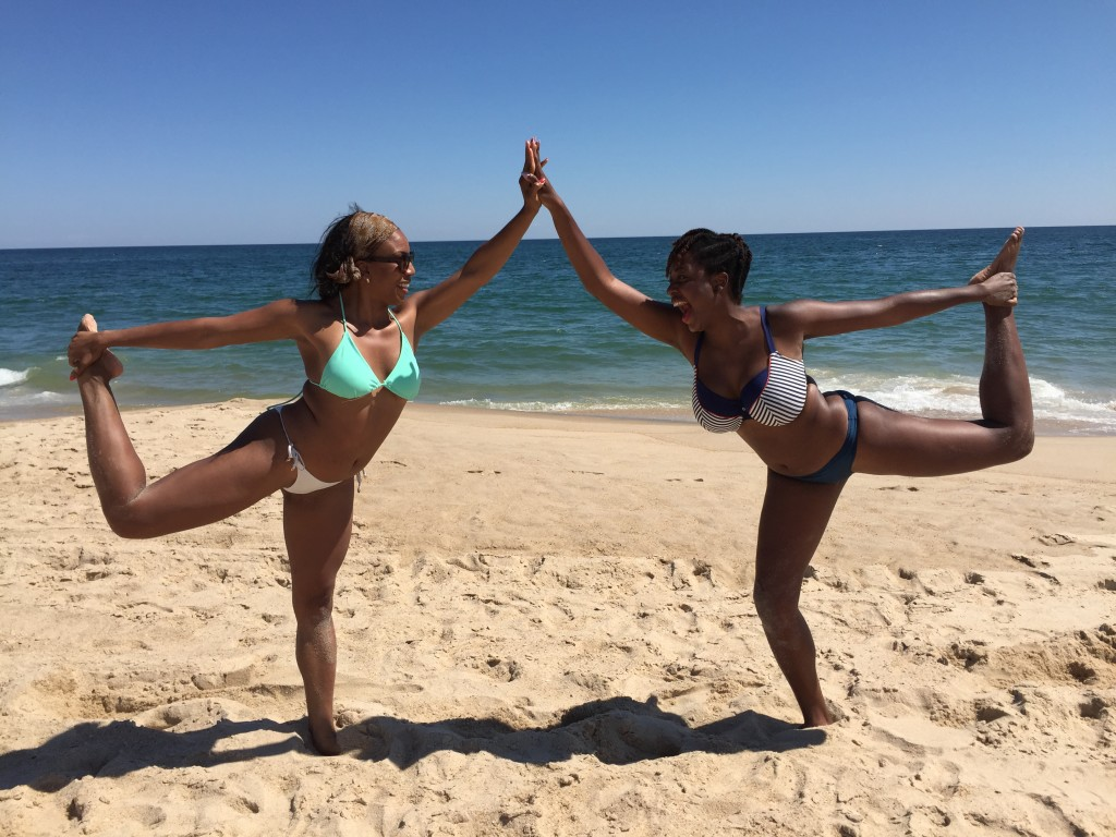 There's always time for a little beach yoga
