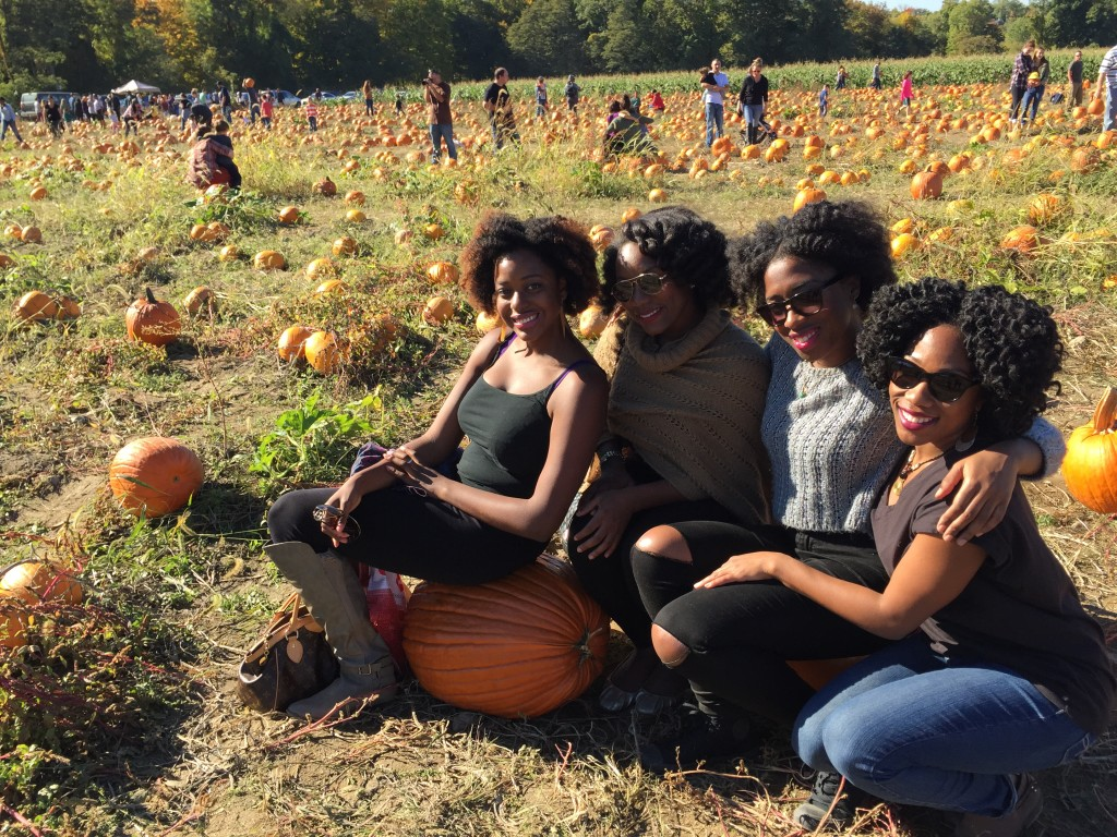Playing around the pumpkin patch.
