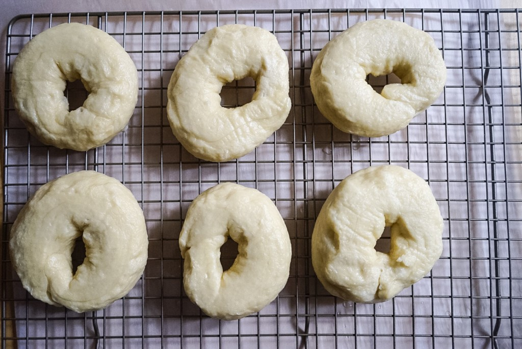 Place the bagels on a cooling rack so that the excess water can run off.