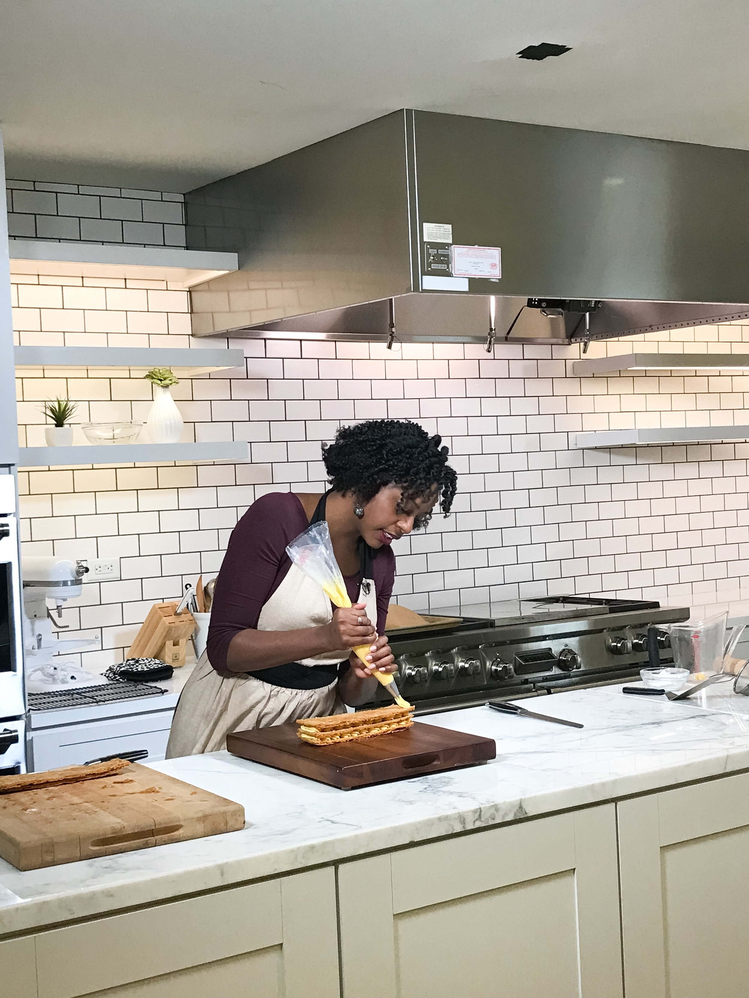 Making a mille-feuille in the Food & Wine Test Kitchen. You can watch the video  here .