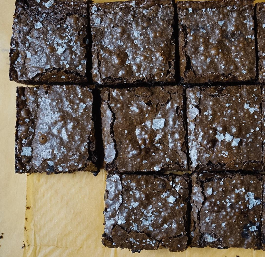 The flaky sea salt makes these brownies next level!