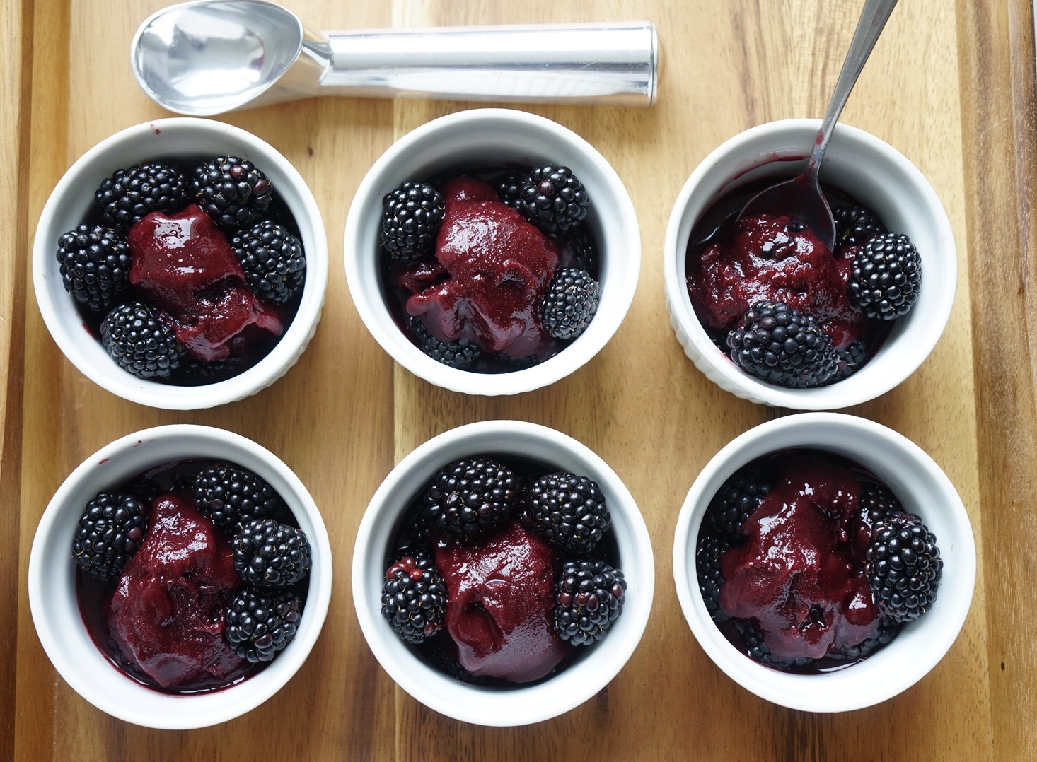 Soft and scoopable homemade blackberry sorbet.