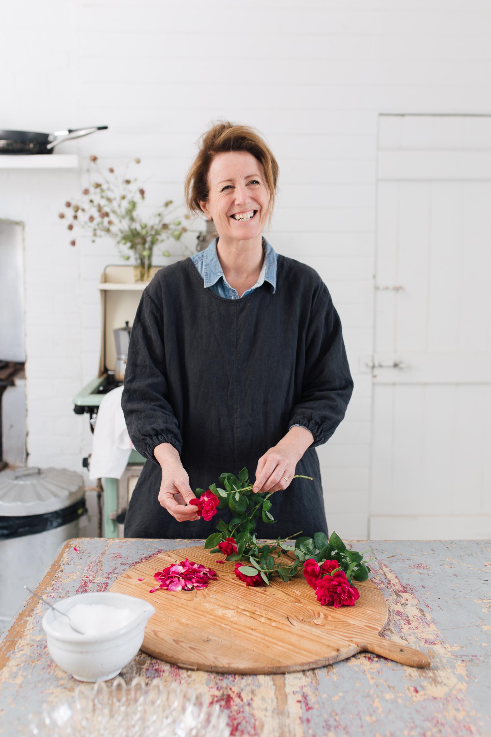 Gillian making the rose sugar