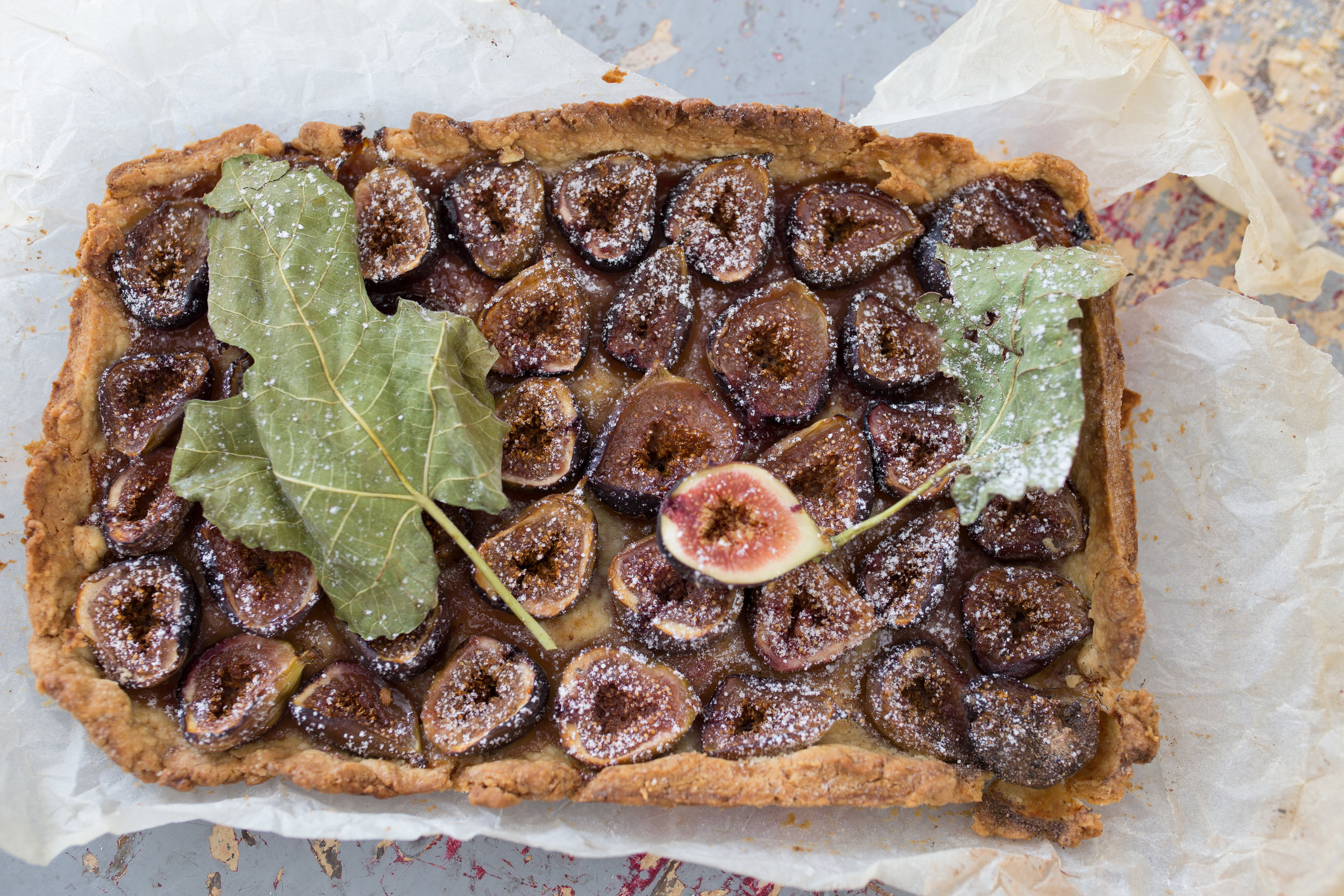 Fig tart after the oven. Gillian convinced a builder to have a piece even though he had never eater a fig before.