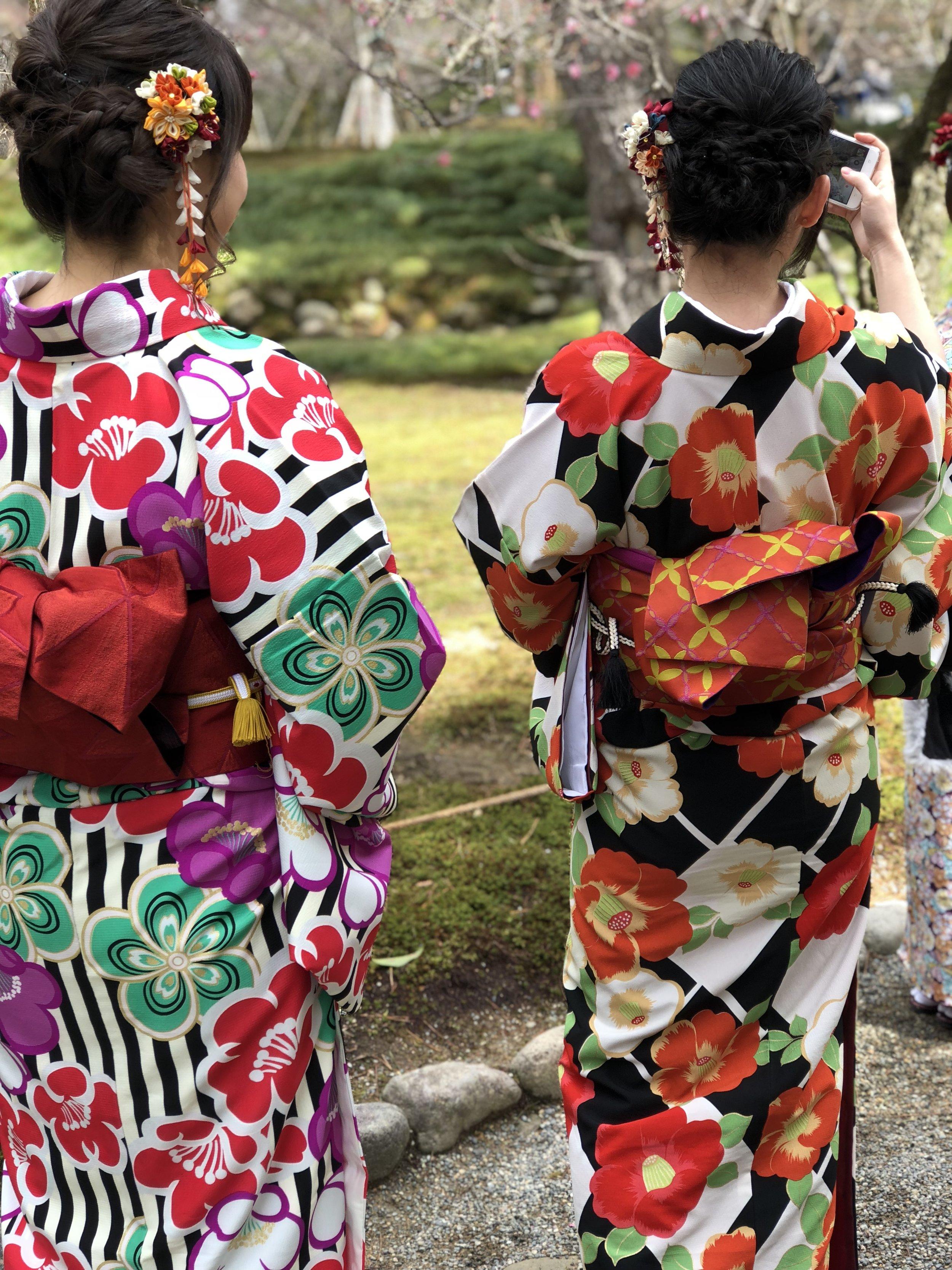 Young locals sakura-spotting in Kenrokuen gardens, Kanazawa.