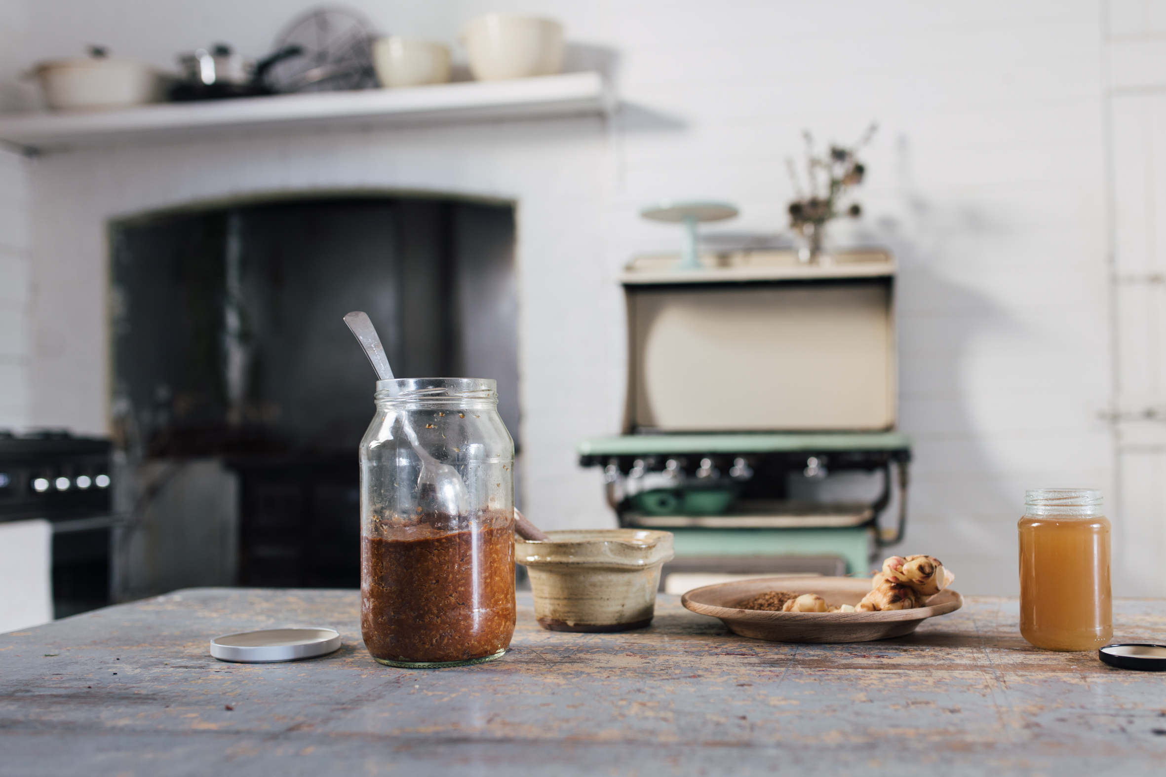 Gillian's homemade miso paste in the jar on the left