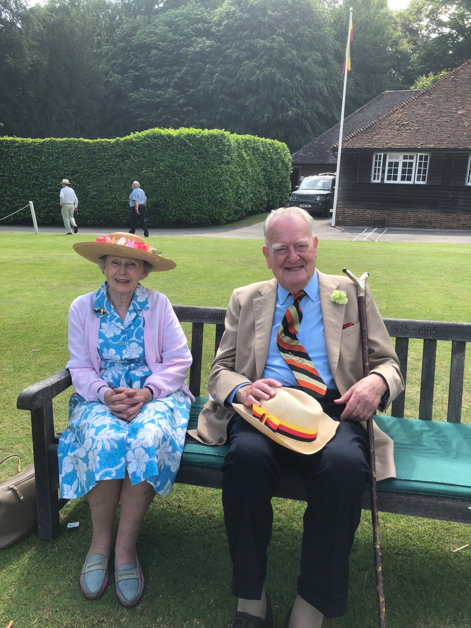 Fiona and Malcolm H, members of I Zingari cricket club (established 1845), watching I Zingari play the Duke of Norfolk's X!, Arundel cricket ground.