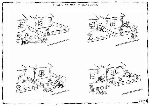Michael Leunig's brilliant cartoon Homage to a Leaf Blower