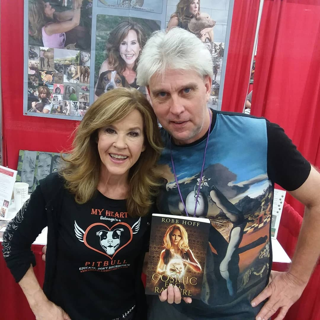 LINDA BLAIR  of  THE EXORCIST  fame was gracious enough to pose with me and my paranormal suspense novel  Cosmic Egg Rapture  at the  LOUISVILLE SUPERCON  after I shared some of the premises of the book with her.    Order Your Copy of Cosmic Egg Rapture here!