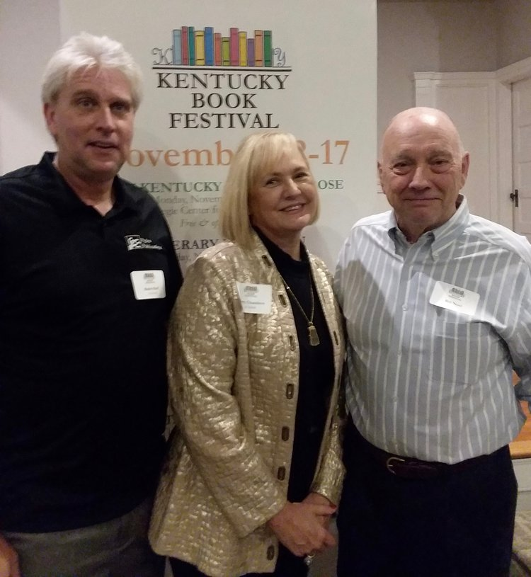 Rose Island author Terry Chambers (center) is flanked by Hydra Publications authors Robb Hoff (left) and Bill Noel (right) at the 2018 Kentucky Book Festival.
