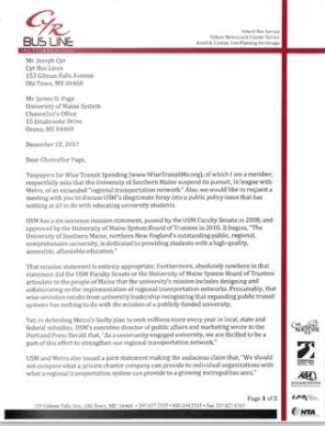 CLICK on the image to read letter to Maine Chancellor James Page.