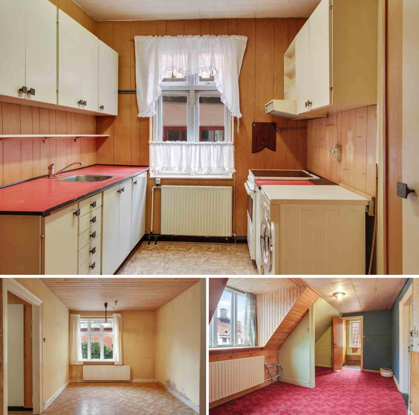 FØR: Billeder fra den oprindelige indretning før nedrivning gik igang. Køkkenet er en tidslomme fra 60'erne…