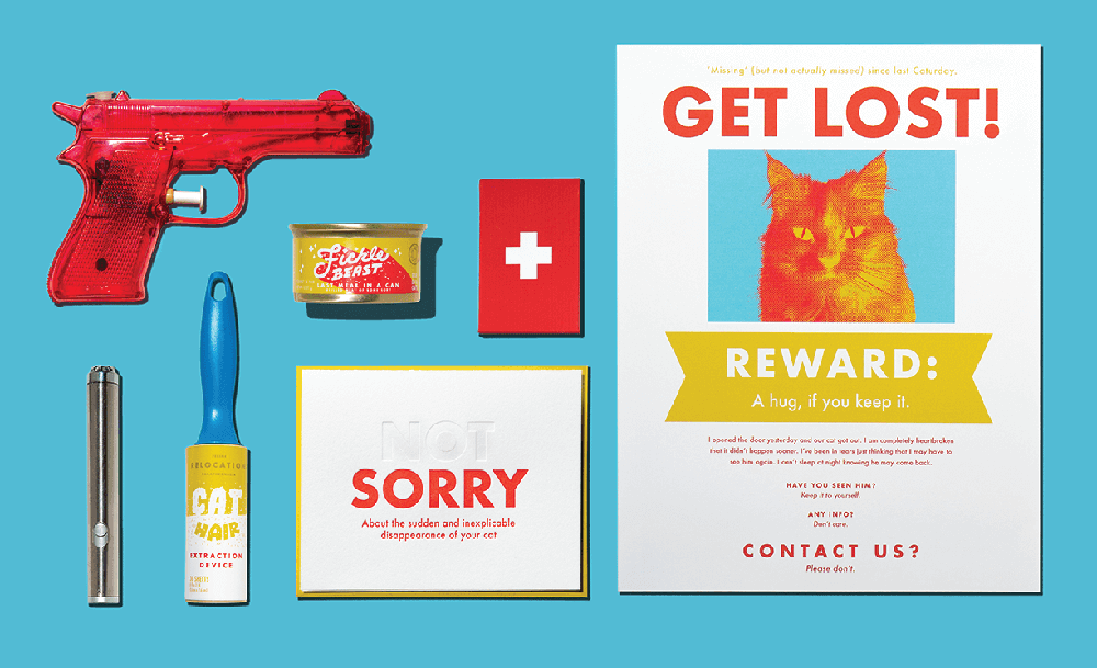 Cat-hater survival kit concept collaboration. Image courtesy of Marks and Maker.