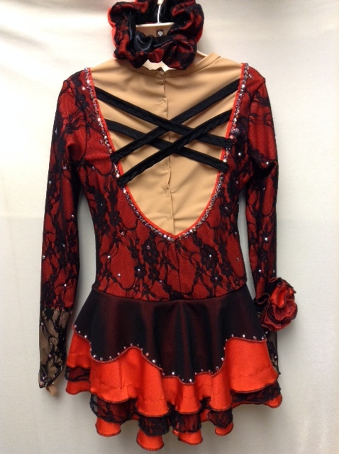 Madison red and black Spanish dress back view finished.JPG