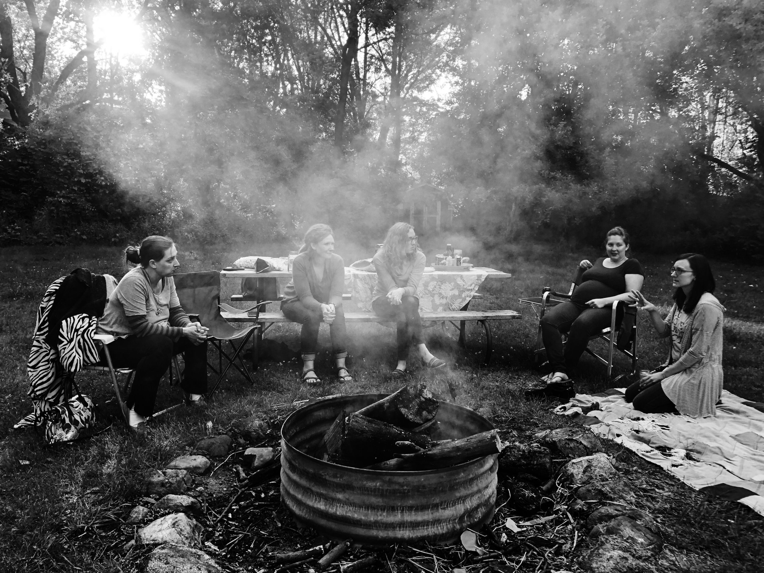 A photo from a recent Sister Circle around the fire in my back yard. We don't always meet around a fire, but I can tell you that it was pretty great to do this time. :)