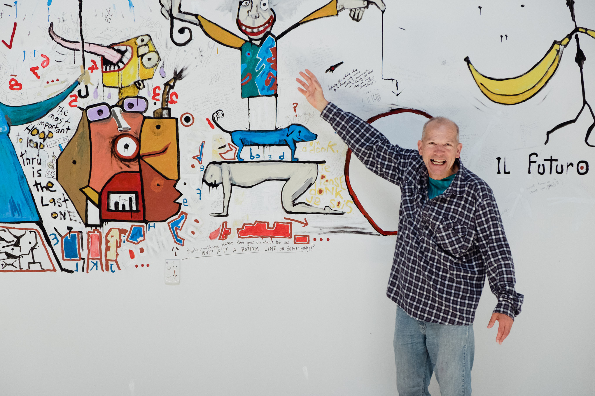 A sneaky peek of the finished mural, Martin looks pretty chuffed! Come into 3Mile to see it all!