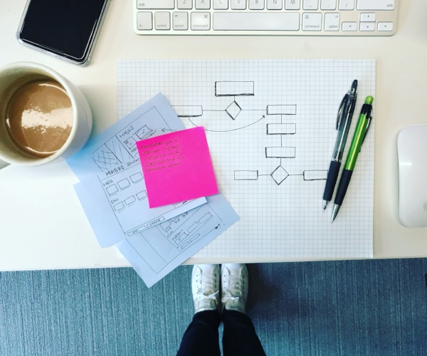 Tools of the trade: Paper, pencils, post-its, coffee. Also pictured: Android corp phone, almond milk latte and the sneakers I wear daily.