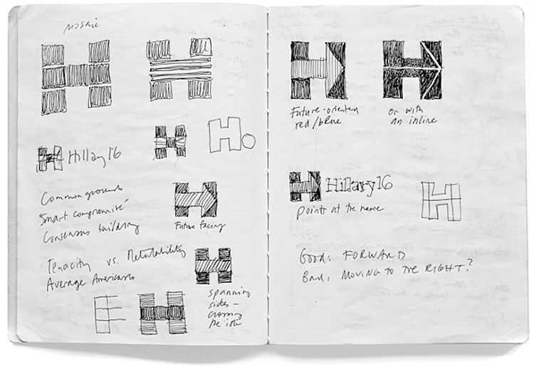 Michael Bierut , concept sketches for Hillary Clinton campaign logo, January 2015