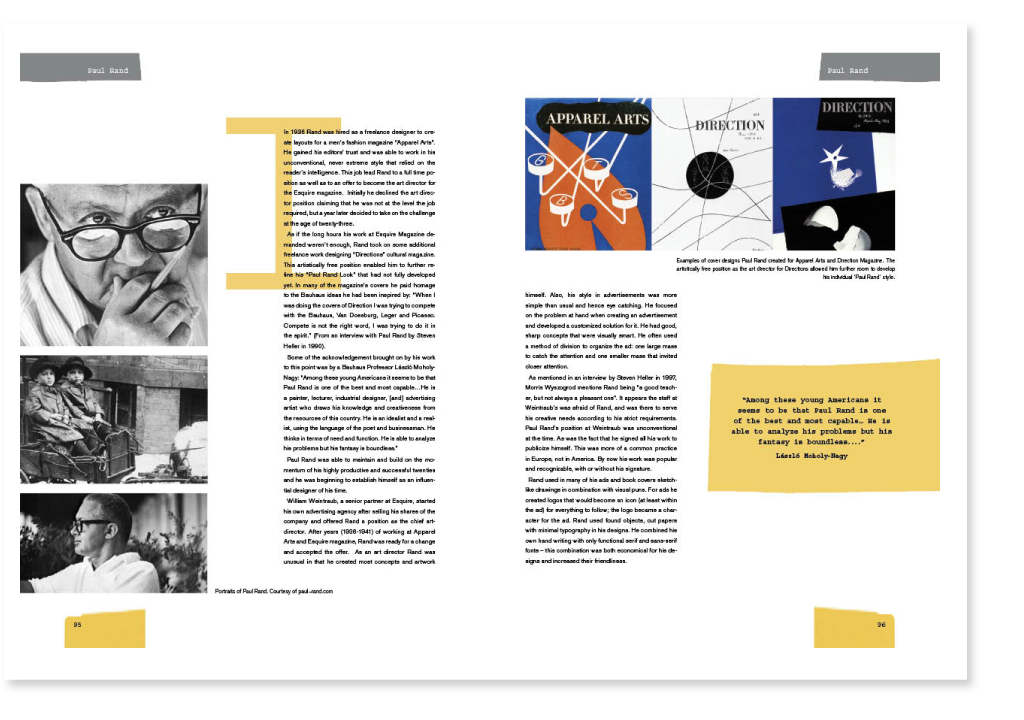 Magazine article on Paul Rand using the design style of Paul Rand by  Outi Pulkkinen