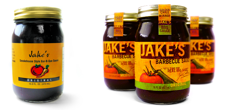 Jake's BBQ Sauce: before and after showing the evolution from the existing design elements by  Kendall Ross .