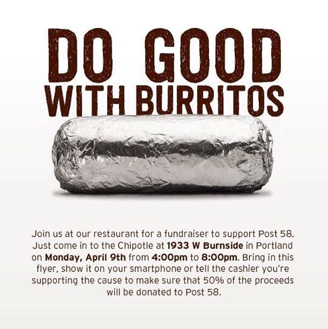 Today only!!! 4-8pm at the burnside chipotle, anyone can participate just mention the Post before you pay 🌯 💜