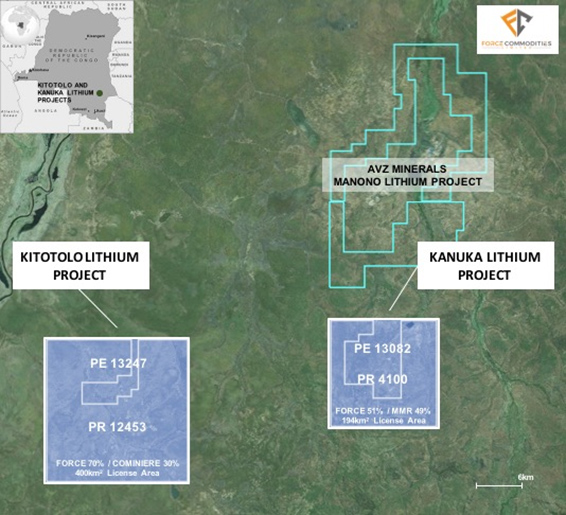 "Project located ~5km south of AVZ's 'world-class' ""Manona"" lithium project and around 500kms due north of Lubumbashi, the capital of the Katanga Province in the south of DRC"