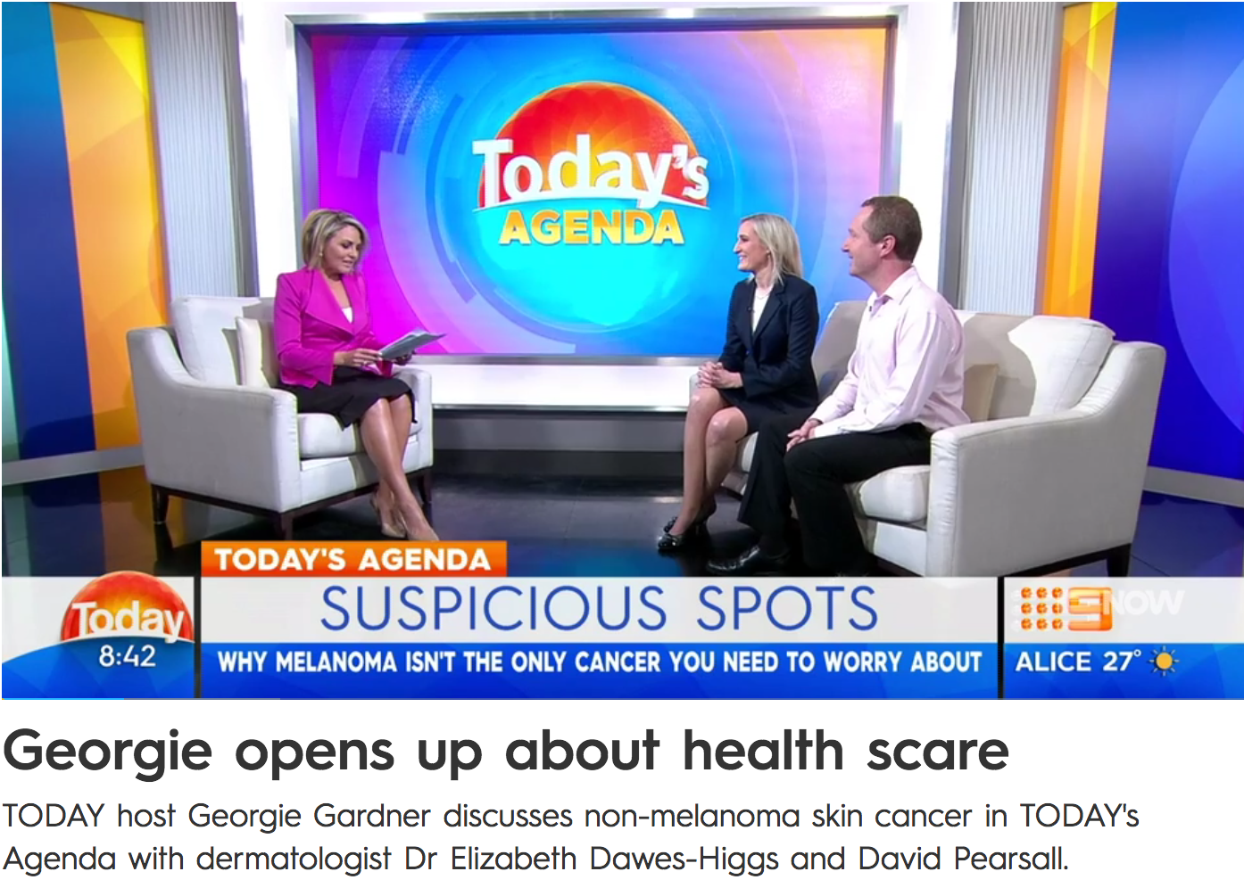 Dr Liz Dawes-Higgs speaking with Georgie Gardener about non-melanoma skin cancer.
