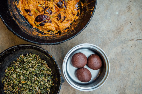 The full meal - Brinjal Curry, Spinach and Egg Bhurji and Ragi Balls.