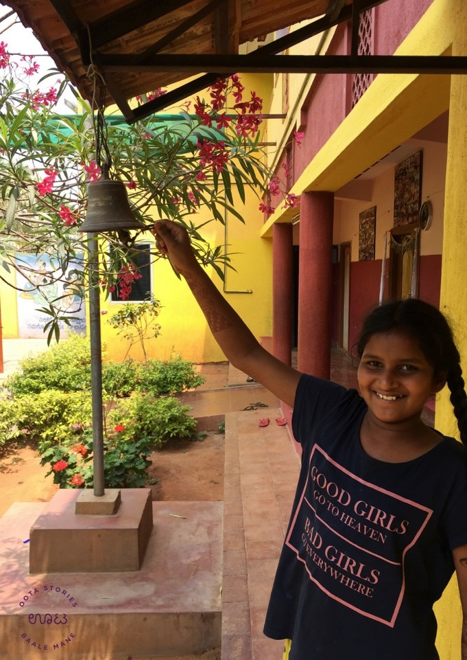 Ringing the bell at Baale Mane!