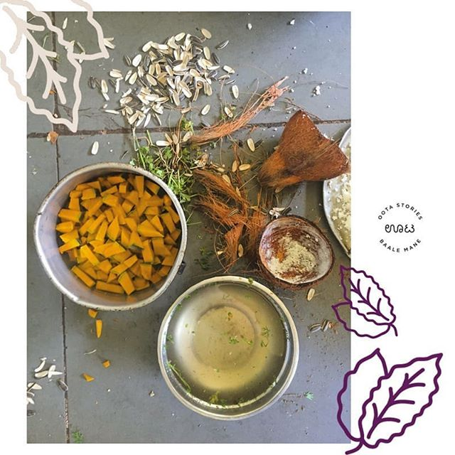Ingredients for a delicious pumpkin palya, perfect in the Bangalore monsoon season. 🎃 🍴 🌿 ⛈️