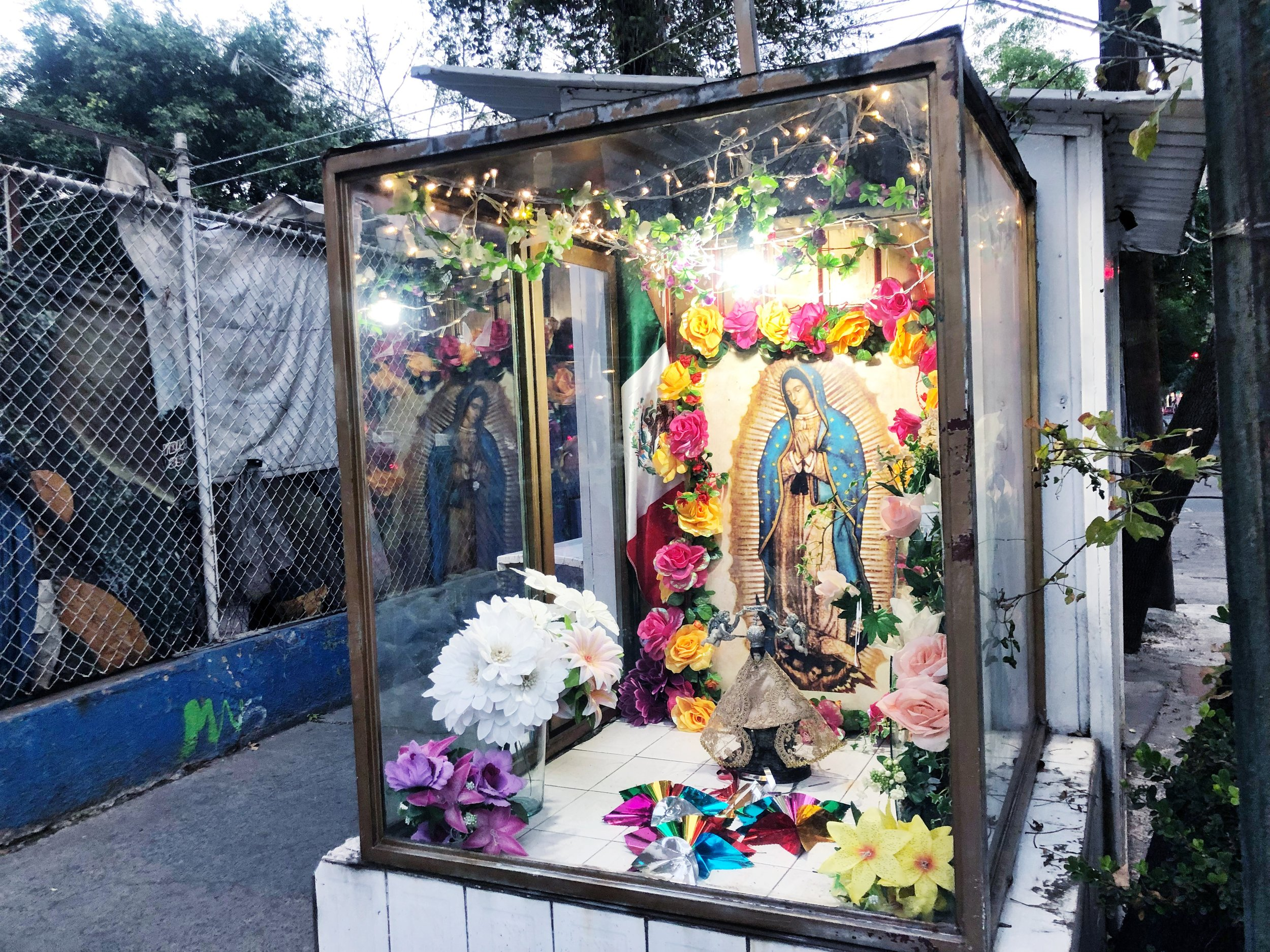 Small shrines in honor of Mexico's Patron Saint, The Virgin Mary of Guadalupe can be found throughout Mexico City's neighborhoods, regardless of the  colonia's  socioeconomic status.