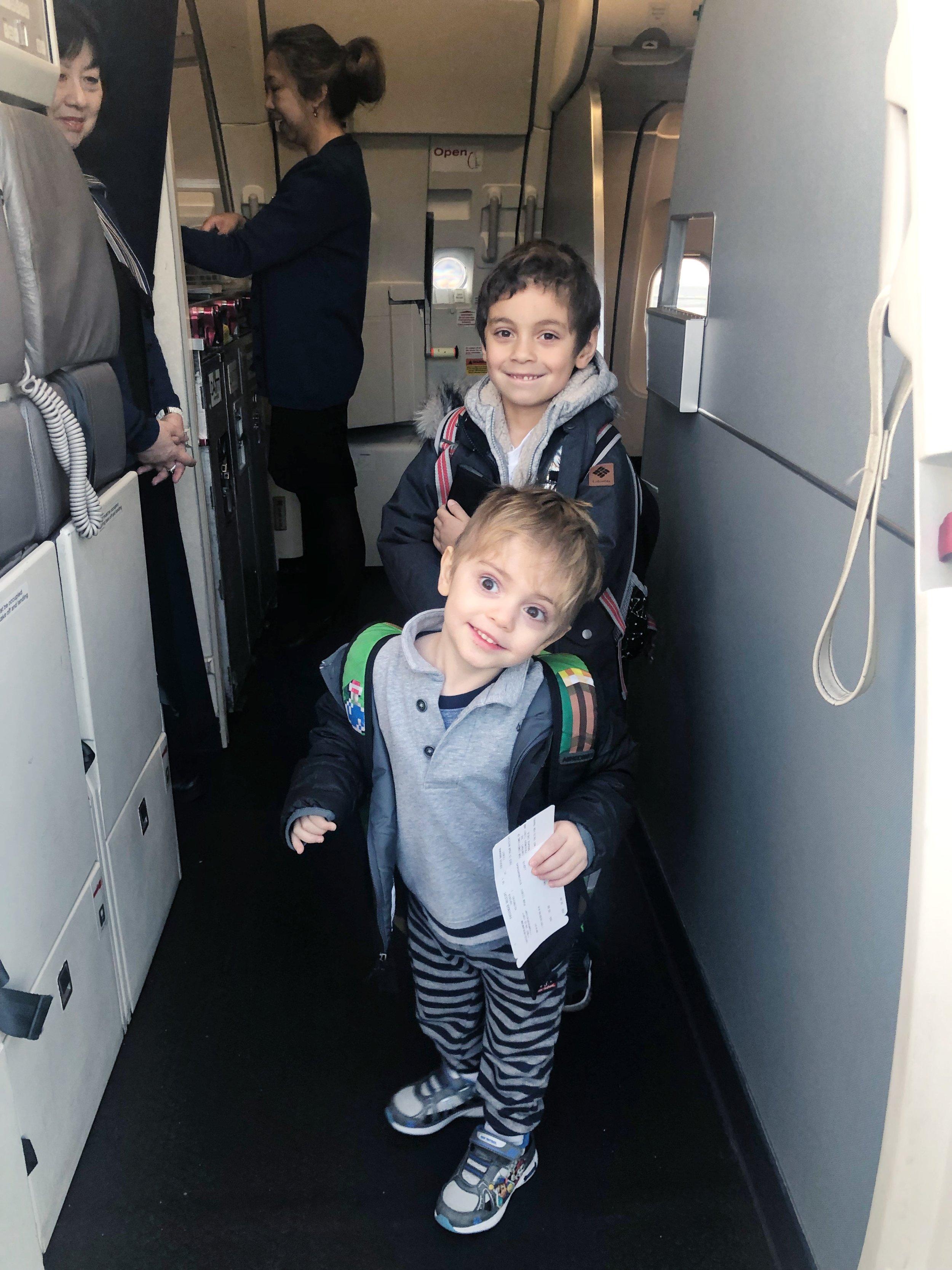 Benny & Toby boarding a plane in Burbank!