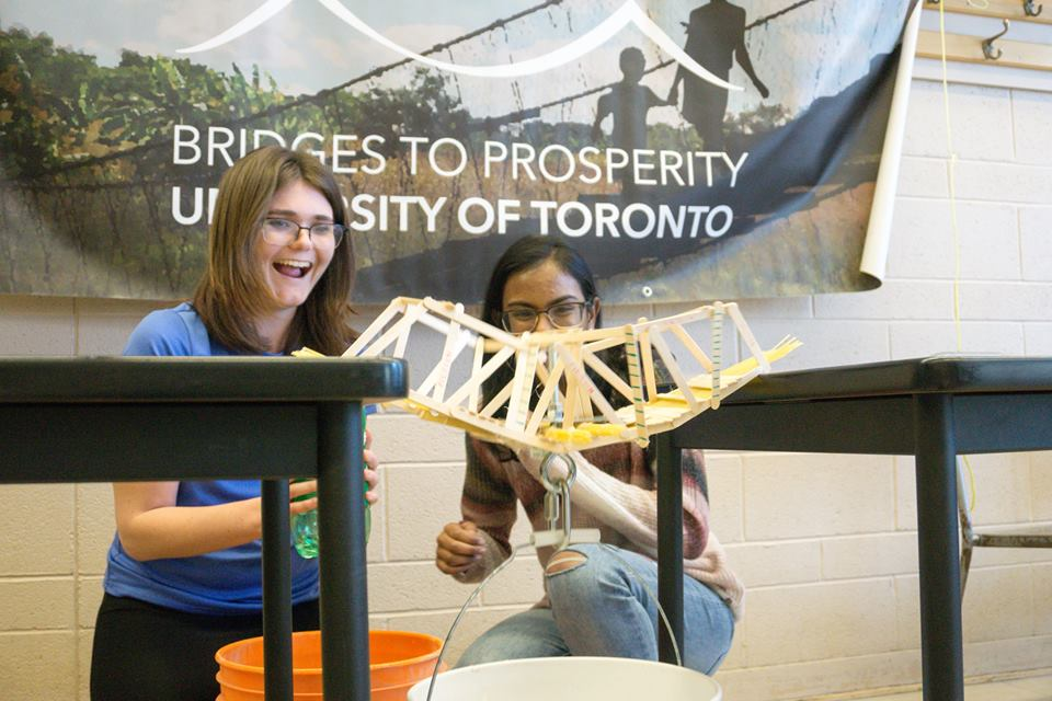 The University of Toronto chapter had a bridge competition  Facebook: @B2PUofT