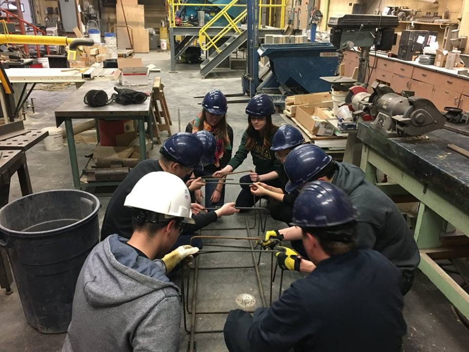 The University of Alberta chapter's travel team got together in March to look at practical field challenges such as cutting and bending rebar and tying the rebar cages together  Facebook: @uab2p