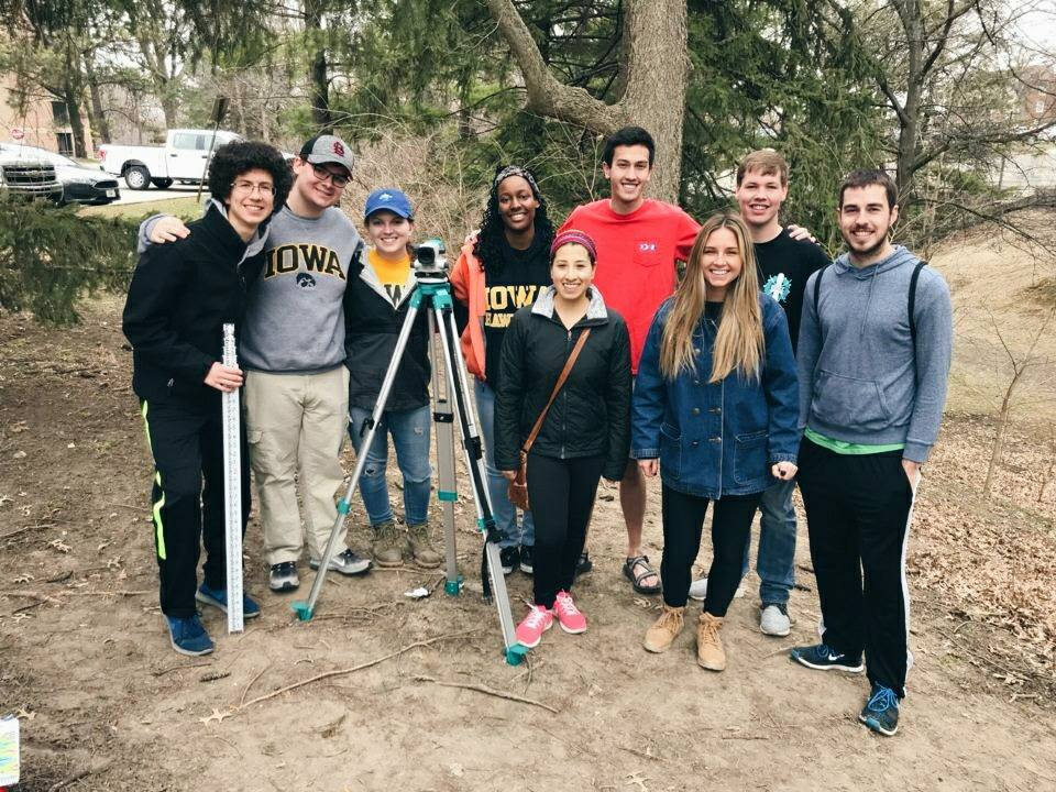 The University of Iowa chapter was out enjoying the nice weather during their surveying workshop  Facebook and Instagram: @continentalcrossings