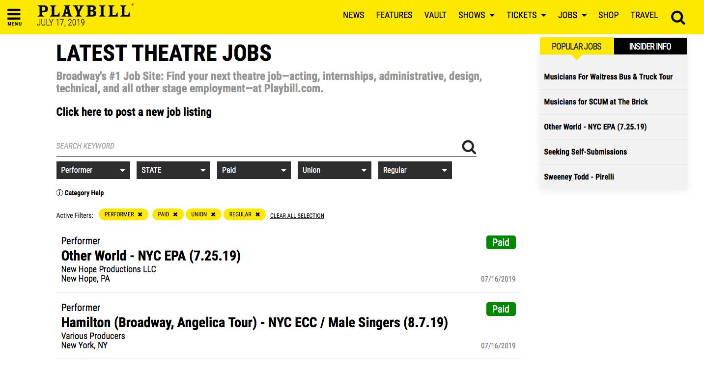 Playbill Actor Audition Job Board