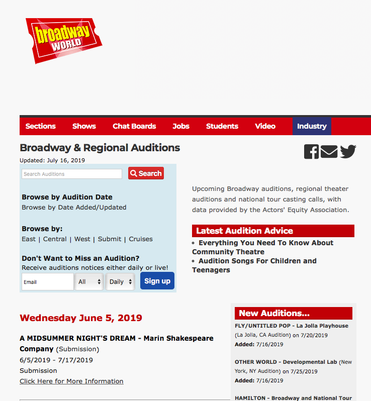 Broadway World Auditions