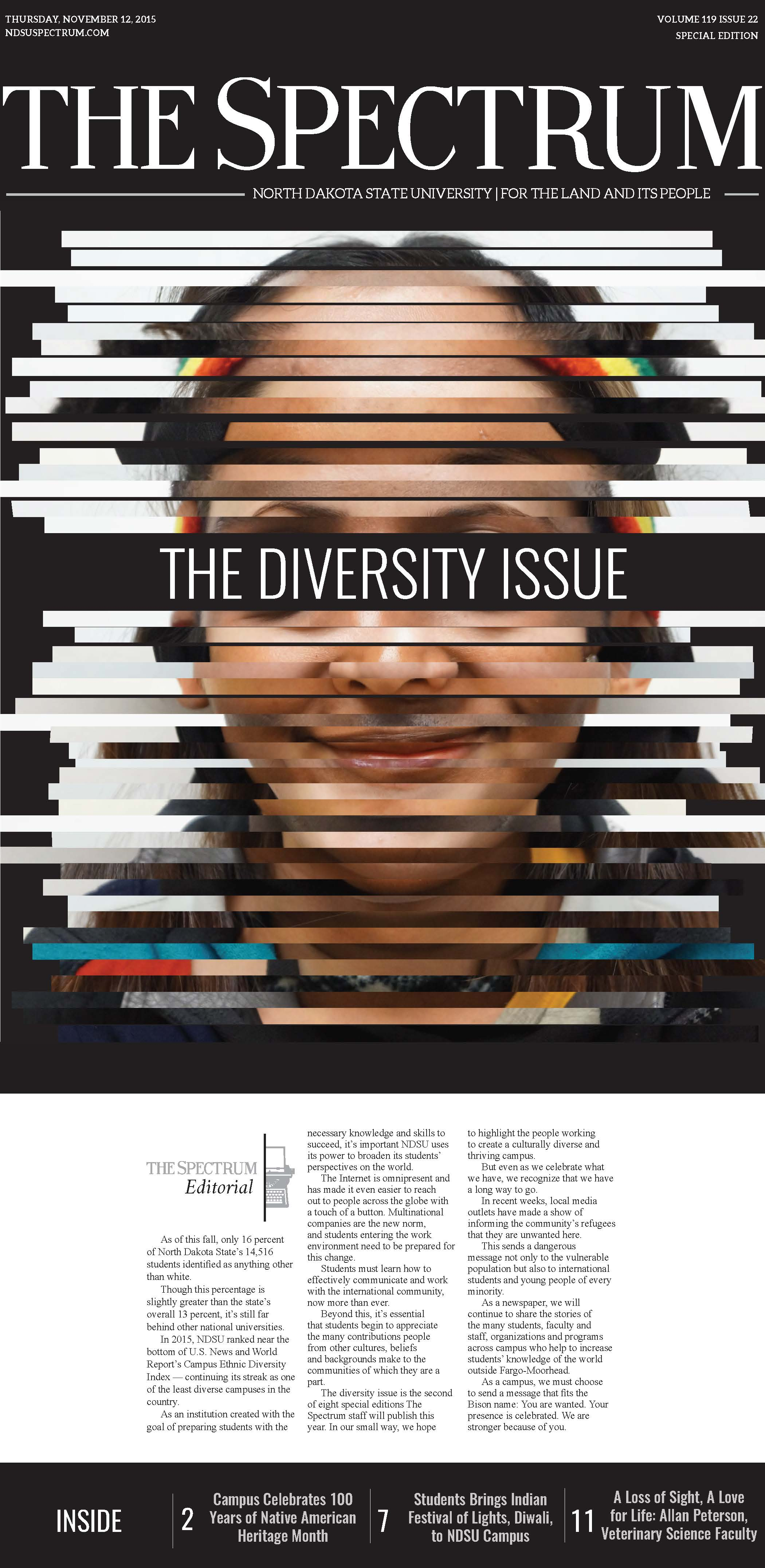 - Front page of our monthly special edition. This issue focused on diversity at our Fargo, North Dakota campus.