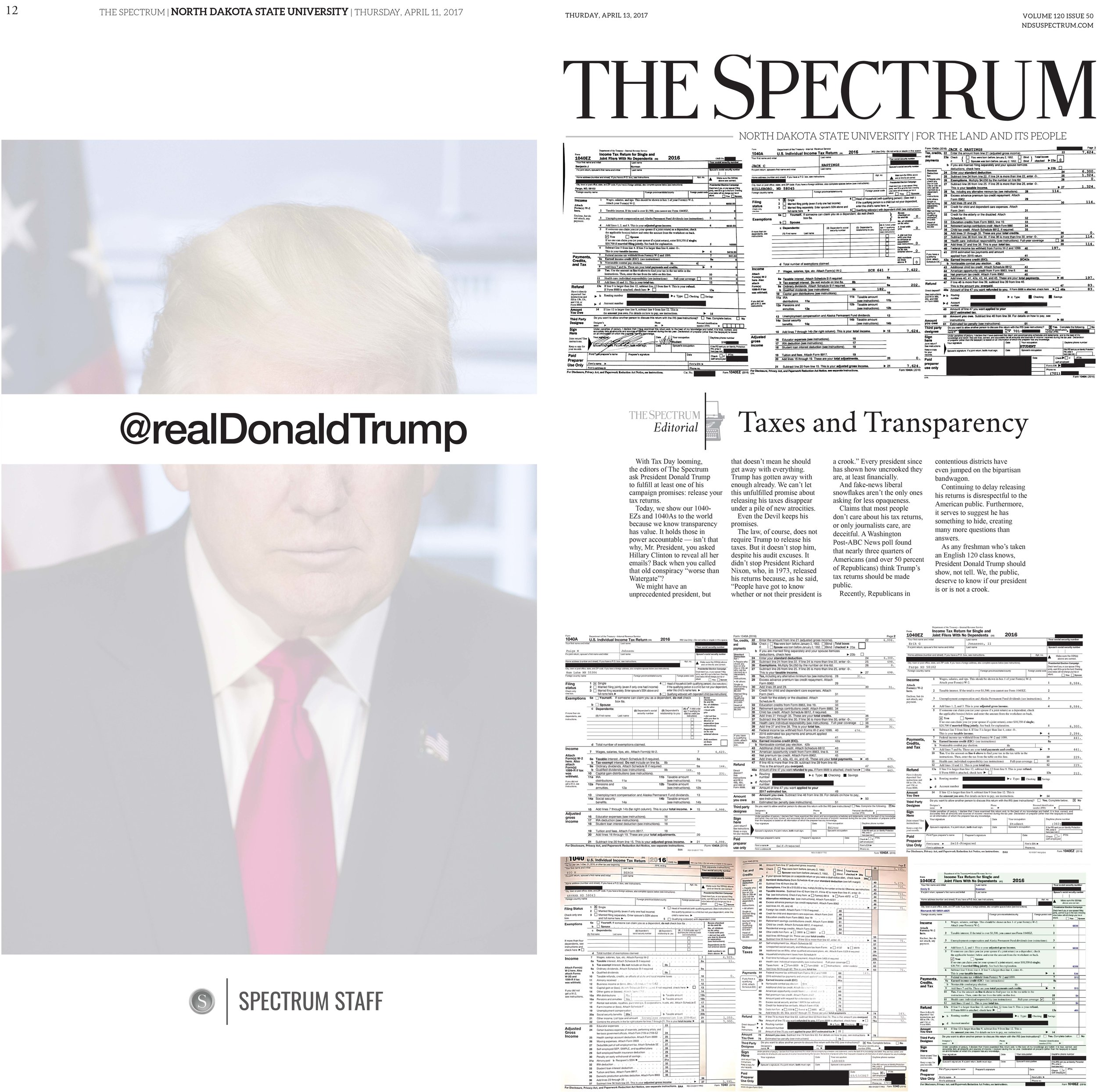 - Front and back page of our broadsheet on tax day in April 2017. A staff editorial was published along with the tax returns of our senior editors.
